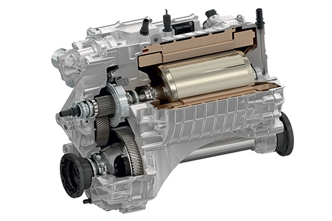An integrated electric drive axle from Magna's portfolio of electrified drivetrain products.