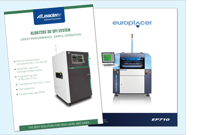 OSI Electronics UK has just installed an ALeader 3D SPI solder paste inspection unit (the first in the UK) along with a Europlacer SP710-AVi printer as part of upgrading its SMT hall to meet its customers' requirements at its St Neots, Cambridgeshire, HQ.