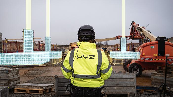 construction site showing XYZ hologram