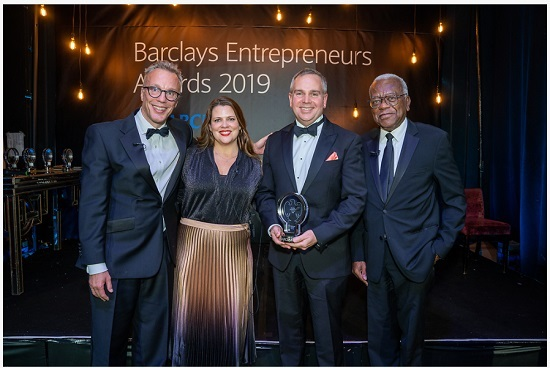 (Left to right) Richard Heggie (Barclays), Juliet Rogan (Barclays),  Eric Mayes, CEO, Endomag, Sir Trevor McDonald.  Credit: Casey Gutteridge, CPG Photos