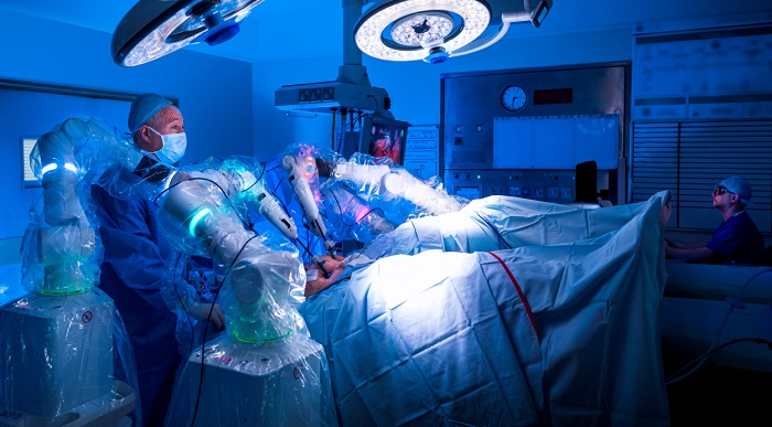 Versius surgical robotic system in action in an operating room