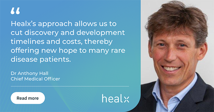 banner showing Healx appoints Dr Anthony Hall as Chief Medical Officer