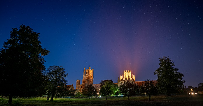 Ely Cathedral is lit up on World Alzheimer's Day in suport of ARUK's #ShareTheOrange campaign - credit James Billings Photography