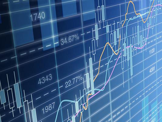 large screen showing stocks and share movements