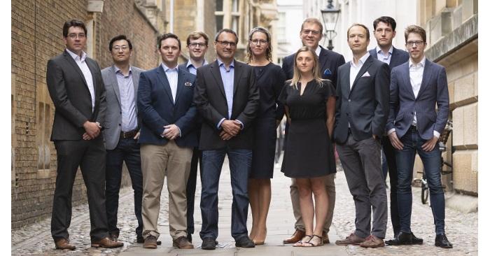 IQ capital team standing in Senate House Passage