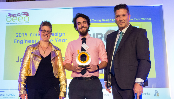James Veale receives engineering award from Prof Lucy Rogers