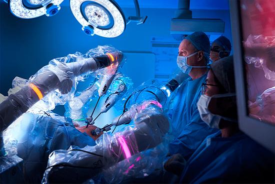 Versius siurgical robot in use at Milton Keynes University Hospital NHS Trust.