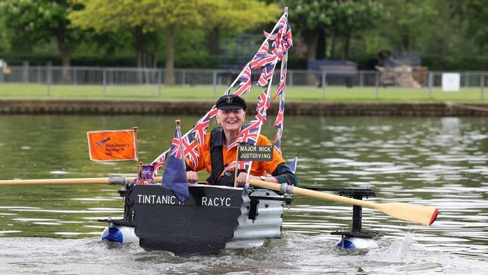 Major Mick in his tin boat_ credit Daily Express