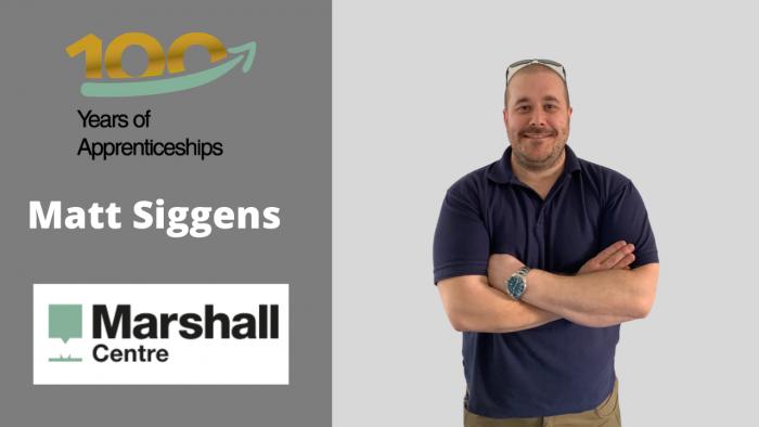 Marshall centre banner featuring Matt Siggens