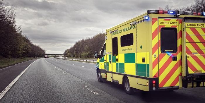 critical care logistics: NHS ambulance on the road