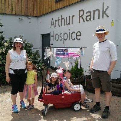 The Lovewell Family, who took part in the Hospice's virtual Star Shine Walk with their three young girls, by walking from their home in Sawston to the Arthur Rank Hospice and back in one day!
