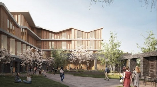 Graphic representation of new building_ funding will further a project to develop of a state-of-the-art, zero-carbon hub to deliver the ambitious vision, Healthy Plants, Healthy People, Healthy Planet (HP3)