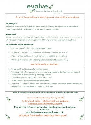 Evolve recruitment flyer
