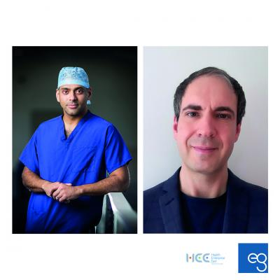 L-R: Ryan Mathew, from Leeds Teaching Hospitals NHS Trust with Co-I Dr Heiko Wurdak, University of Leeds