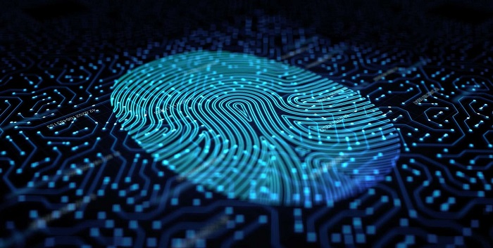 stylised blue electronic fingerprint_ Arm Security Manifesto