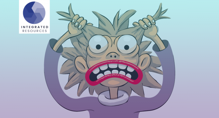 Cartoon creature tearing its hair out