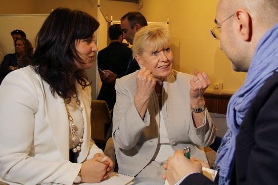 Luciana Scrofani Green (left) interprets for Nobel Peace Prize winner Betty Williams
