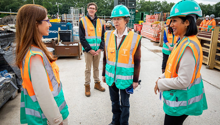 Dr Gita Khalili Moghaddam (left) and HRH The Princess Royal,  Royal Fellow of the Academy, during a specially arranged visit to the Thames Tideway Project in London.  Image credit:  Thames Tideway