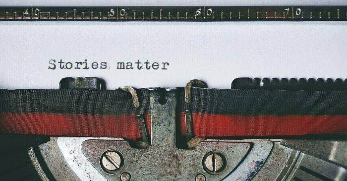 'Stories matter' written on old style typewriter