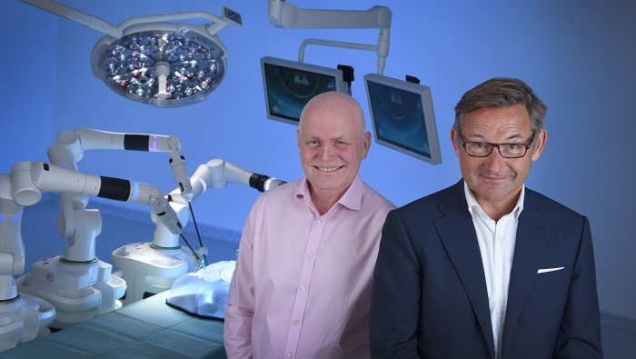 Martin Frost, Chief Executive Officer of CMR Surgical (left) and Erik Langaker, Chairman