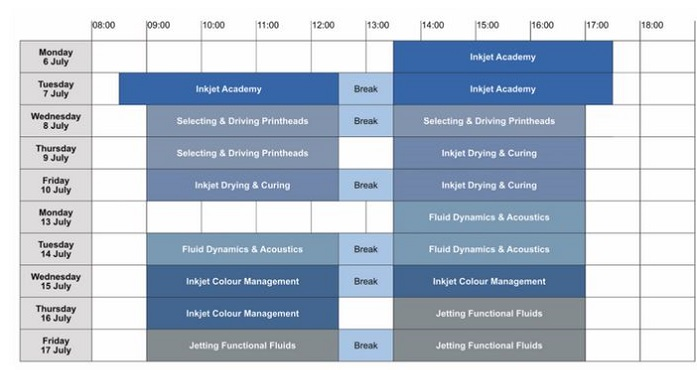 Inkjet Summer School 2020 timetable - times are Central European time