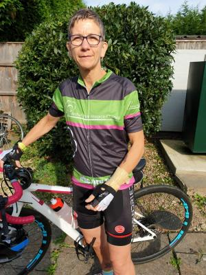 Jane Clarke a nurse at the Alan Hudson Day Treatment Centre with her bike in preparation for her 5 challenges in 2021 for Arthur Rank Hospice Charity