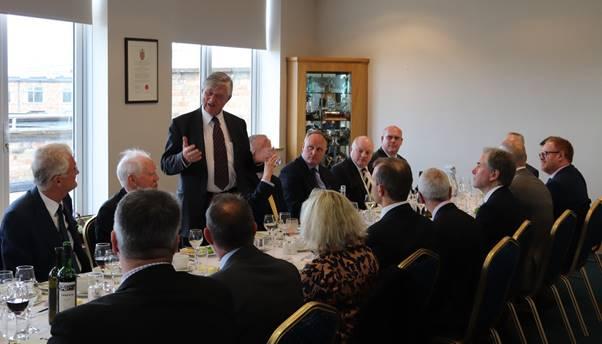 Sir Michael Marshall MA, CBE, DL, FRAcS, FIMI speaking at Cambridge Airport