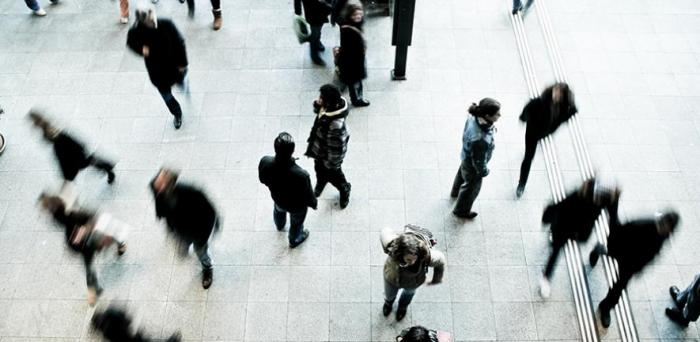 aerial view of pedestrians