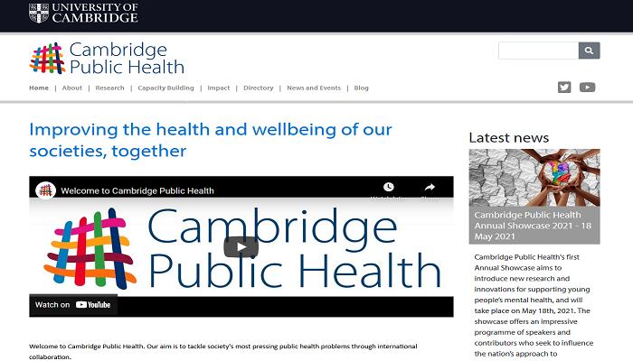 Cambridge Public Health webiste homepage