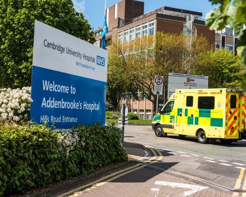 Picture shows ambulance visiting Addenbrooke's hospital