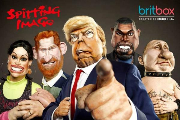 Spitting Image characters on Britbox