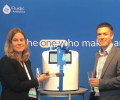 Professor Maria Andreasen from Aarhus University and Aaron Venables, Product Director from Fluidic Analytics cut the ribbon on the Fluidity One-W at PEGS 2019
