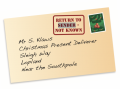 Accuracy test- envelope showing errors in address to Santa Claus
