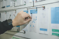 Project management graphs on a notice nboard