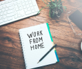 work from home_desk with notepad