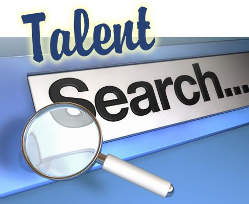 Magnifying glass image and the words' Talent Search'