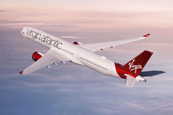 Virgin Arlantic plane in the air
