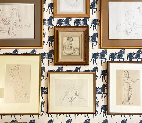 Cheffins Affordable Art Sale 2 – a selection of drawings, with estimates up to £100. Shot against Molly Mahon Marwari Horse wallpaper in Dark Blue