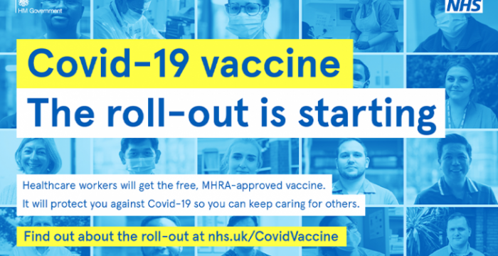 NHS picture saying Covid-19 vaccine. The roll out is starting.
